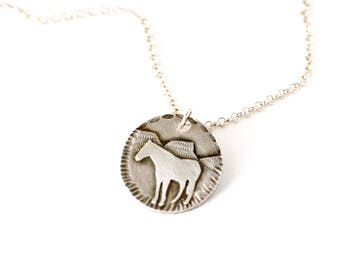 Wild Horse Sterling Silver Medallion Necklace