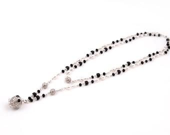 White Black Beaded Necklace Swarovski Crystal pearls Metal Pendant Owl