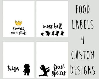 Where The Wild Things Are Food Labels, Printable and Customizable, Digital Files, Printable Food Tents, Wild Things Birthday Party