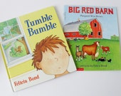 Children's Book Set Vintage Picture Books by Felicia Bond, Tumble Bumble & Big Red Barn, Bedtime Stories, Animal Books, Rhyming Books 1990s