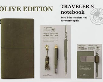 Traveler's Notebook Olive Edition Leather Cover Regular size , Ball pointpen & Pen Holder Set 2017 limited-edition Color Free shipping Sale