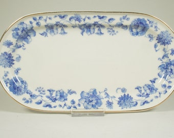 Small serving plate, Suisse Langenthal, celery dish, blue and white, porcelain, flowers