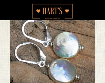 Dazzling Cultured Coin Pearl .925 Sterling Silver Lever Earrings