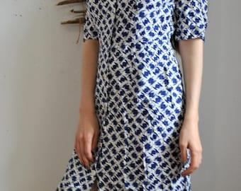 Vintage white blue womens long dress 1990s 1980s casual dress
