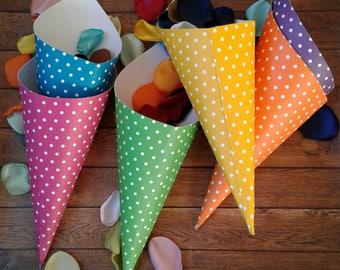 Paper cones, confetti cones, cotton candy cones, pop corn cones, cardstock cones, wedding candy bar, birthday cones, polka dots, cones.