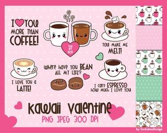 50% OFF, Valentine clip art, kawaii clip art, kawaii clipart, kawaii coffee clip art, kawaii love clipart, cute clip art, Commercial Use