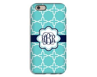 Monogram iPhone 7 case, aqua barbed quarterfoil iPhone 7 Plus case, iPhone cases for girls, iPhone 6s/6s plus case, iPhone 5s/ 3D phone case