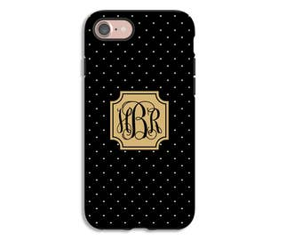 iPhone 7 case, monogram iPhone 7 Plus case, black and white mini polka dot iPhone case, iPhone SE/6s/6s Plus/6/6 Plus/5s/5 iPhone cover