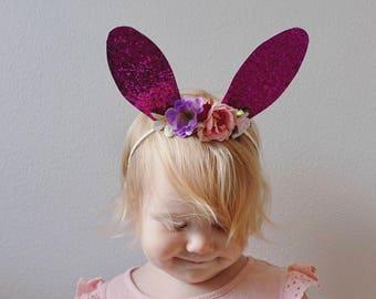 Glitter Bunny Ears - Headband Bunny Ears - Glitter Photo Prop - Easter Rabbit Ears
