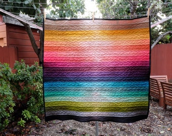 Modern Ombre Rainbow Striped Baby Blanket / Lap Quilt