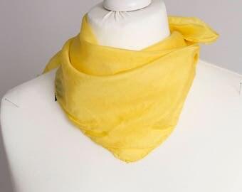 "vintage Square scarf, retro plain scarf, silk scarf, fabric women scarf shawl 50x50cm / 20x20"" yellow"