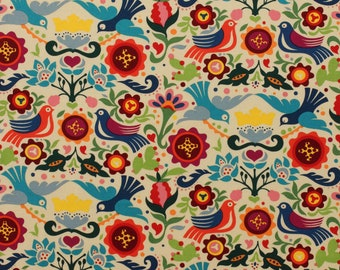 La Paloma Mexican Fabric   Birds   Floral   Folklorico   Traditional Mexican Folk Art Material   Dove of Peace and Love