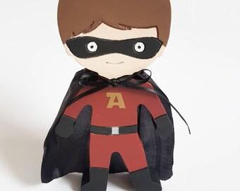 Freestanding Superhero, personalised, nursery, bedroom decor, boys room, red, black, Cape, hero, superman, batman, iron-man, mask, brunette