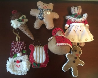 Adorable Lot of 7 Vintage Handmade Ornaments
