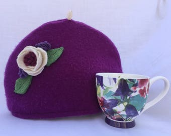 Purple Felted Cashmere Wool Tea Cozy