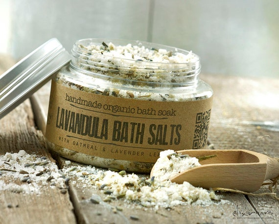 Lavender BATH SALTS • with oatmeal and lavender flowers for a spa relaxation bath soak ritual.