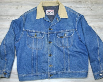 Vintage Lee Storm Rider jean jacket, size 48. Denim with corduroy collar and blanket lining.