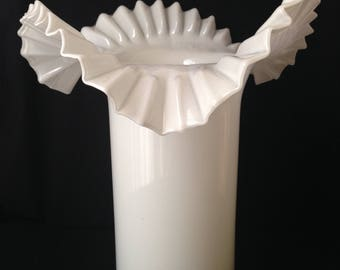 Stunning Extra Large White Art Glass Vase.