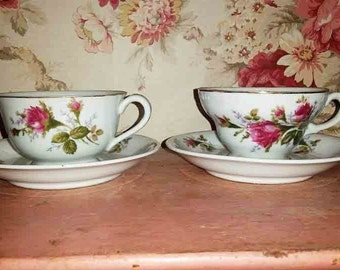 2 Pink Rose Teacup and Saucer. Perfect for the mix matched set