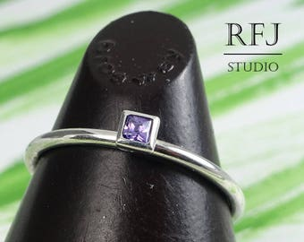Square Lab Amethyst Silver Ring, Dainty Engagement Ring, February Stone Square Setting Classic Ring Princess Cut 2x2 mm Purple CZ Stack Ring