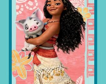 "IN STOCK - Disney Fabric, Moana Fabric: Disney Moana & Pua Pig Panel Quilt top 100% cotton Fabric by the panel 35""x43"" (SC377)"