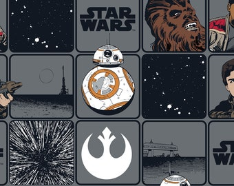 """Star Wars Fabric: Star Wars The Force Awakens- Heroes In Squares- Rey, Chewie, BB8, Rebel sign 100% cotton fabric by the yard 36""""x44"""" (C403)"""