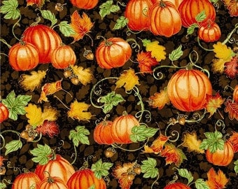 "Pumpkins Fabric: Harvest Bounty Pumpkin and Leaves Ecru on Black by Quilting Treasures 100% cotton fabric by the yard 36""x43"" (N640)"