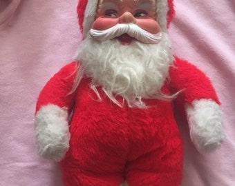 Vintage Rushton Gund Plush Rubber Face Santa Doll