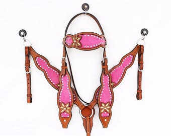 The Pink Flower Leather Headstall Western Horse Bridle Breast Collar Plate Show  Bling Tack Set