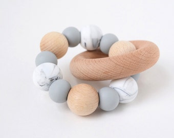 TRIO Marble Baby Teething Rattle // Wooden Teether // Silicone Teether // Silicone beads // Teether Toy // Teething Ring // Teething Jewelry