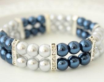 Blue Grey Pearl Bracelet -  Wedding Bracelet - Bridal Jewelry