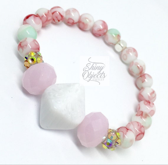 Pink and White Navifoce Marble Beads with Fun Geometric Centerbead