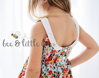 Floral Summer Spring Vintage Style TOP, Little Girl Toddler Top, Pleated, Lace, Scoop Back,  Eyelet Collar, Boutique Top SIZE 2T-5