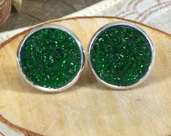 St Patricks Day Earrings - Green Druzy Earrings - Green - Stud Earrings - Irish - Earrings - Jewelry - Green Jewelry - St Patricks Jewelry