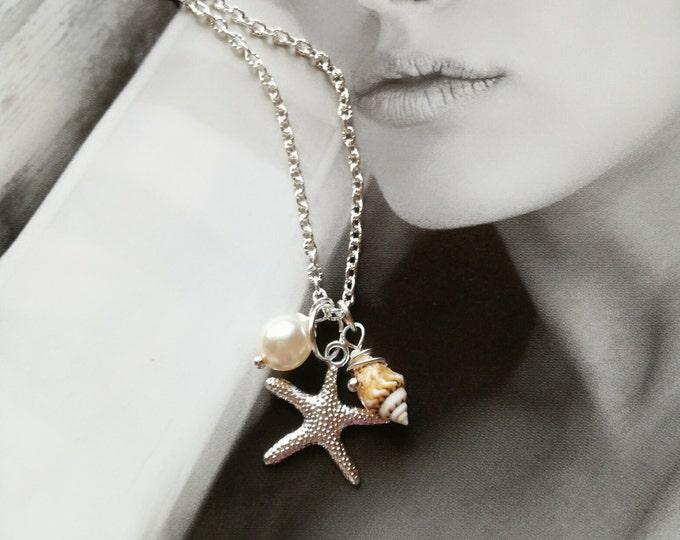 Starfish Necklace, Seashell necklace,Beach Wedding, Summer Jewelry, Nautical Charm Pendant, Starfish Jewelry, Starfish Necklace with Pearl