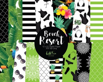 Black and Green Resort fashion 12 x 12 Digital papers, tropical, strips, bikini, swim suit,