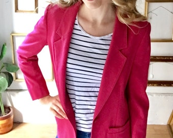 Vintage Fuscia Pink Pendleton Wool Blazer - sz 8 - FREE SHIP