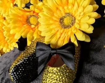 Yellow bling ballerina shoes