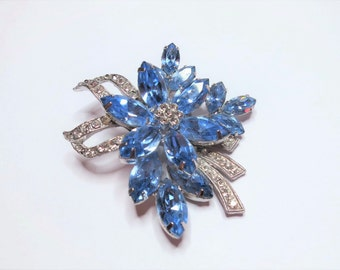 Vintage Signed Weiss Flower Brooch / Blue Marquise & Clear Rhinestone / Silver Tone / 1950s Floral Crystal Wedding Pin / Pave Ribbon (D713)