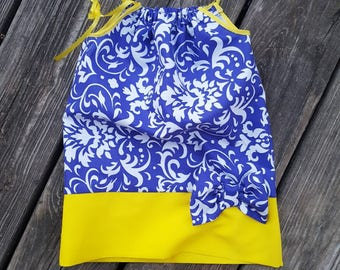 Blue and yellow pillowcase dress. Ready to ship