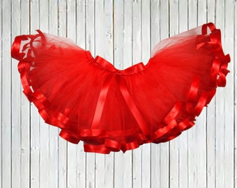 ValentineTutu, Red tutu, Ribbon Tutu, infant tutu, baby tutu, newborn tutu, toddler tutu, holiday tutu, Curly Tutu, girl tutu