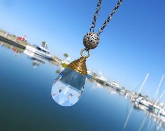 Vintage Crystal Necklace // Vintage Bronze Button Necklace // 50mm Teardrop Crystal Necklace