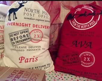 Christmas In July, Santa Sacks, Embroidered Personalized Santa Sack, North Pole Sack, Christmas Gift Bag, Christmas bag, Santa Sacks