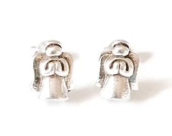 Sterling Silver Disney Angel Stud Earrings/Highly polished/Gifts/wedding/bridesmaid