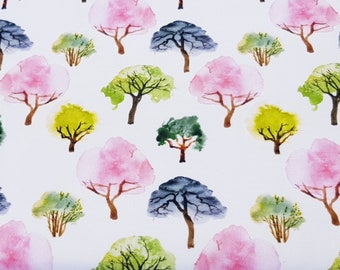 Watercolour Trees Double Brushed Cotton Jersey Fabric