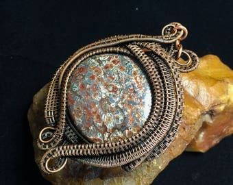 "Wire wrapped fossilized coral in antiqued copper named ""Claire"""