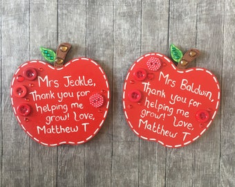 Personalised Apple Magnets - End Of Year Teachers Gift