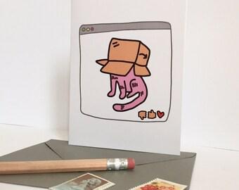 cat in a box card / cute cat greeting card / cat lovers card