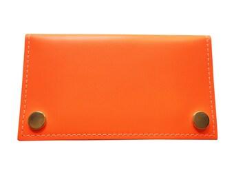 Neon Orange Leather Purse