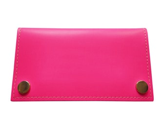 Neon Pink Leather Purse